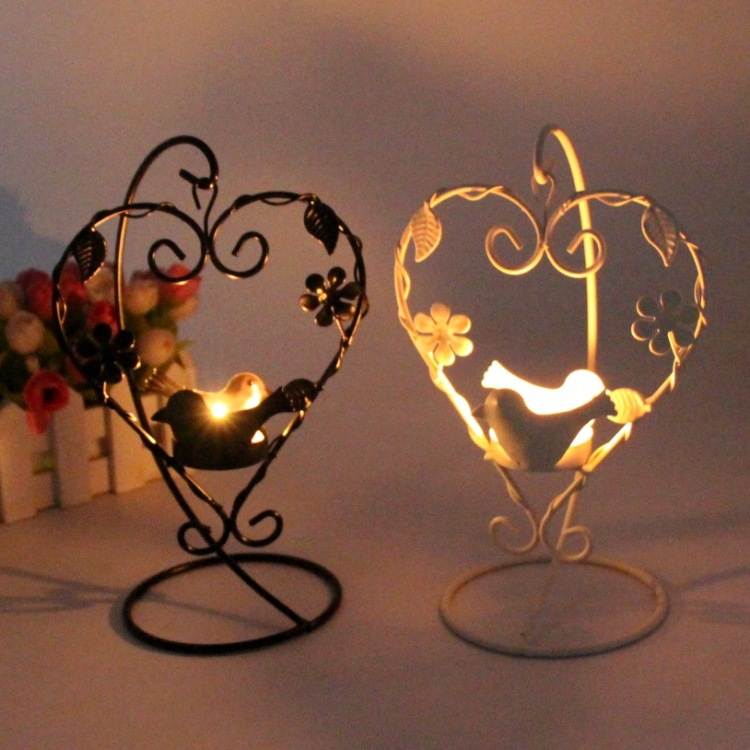 Heart bird candlestick